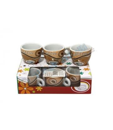 SET 6 tazzine caffè di ceramica marrone